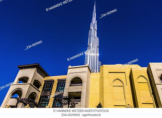 The Burj Khalifa seen from the Souk Al Bahar in Dubai