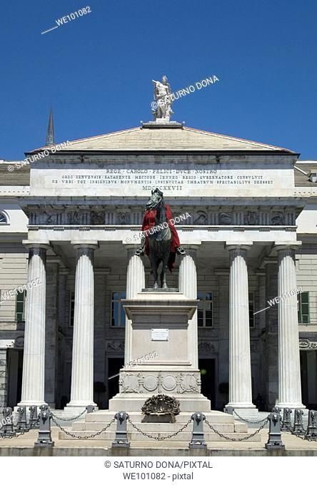 Statue of Giuseppe Garibaldi in front of the theatre Carlo Felice , Piazza De Ferrari, Genoa, Italy
