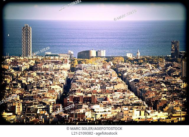 Cityscape, aerial view. Barcelona, Catalonia, Spain