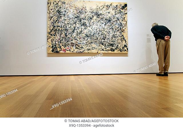 Number 1A, 1948, by Jackson Pollock American, 1912-1956, Oil and enamel paint on canvas, 68' x 8' 8' 172 7 x 264 2 cm, MOMA, New York City