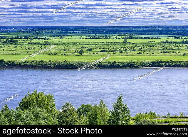 Siberian river valley on a summer day