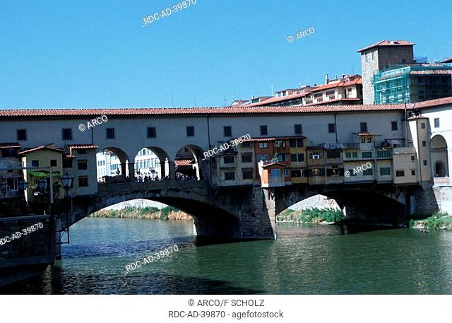 River Arno bridge Ponte Vecchio with shops Florence Tuscany Italy