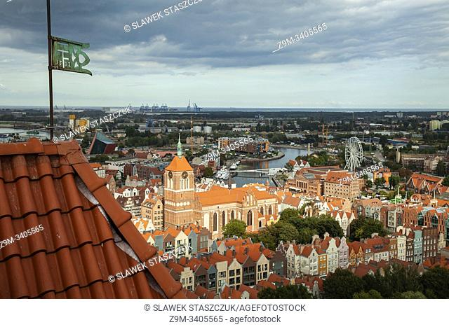 A view on Gdansk old town from St Mary's basilica tower, Poland. St John's church in the distance