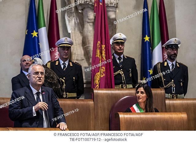 President of S.S. Lazio Claudio Lotito, Mayor of Rome Virginia Raggi during the prizegiving at Campidoglio Palace, Rome, ITALY-10-07-2019