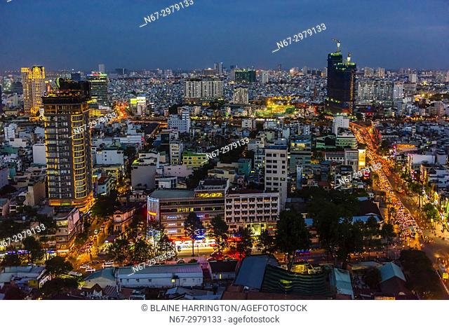 Overview of the skyline,Ho Chi Minh City (Saigon), the largest city in Vietnam