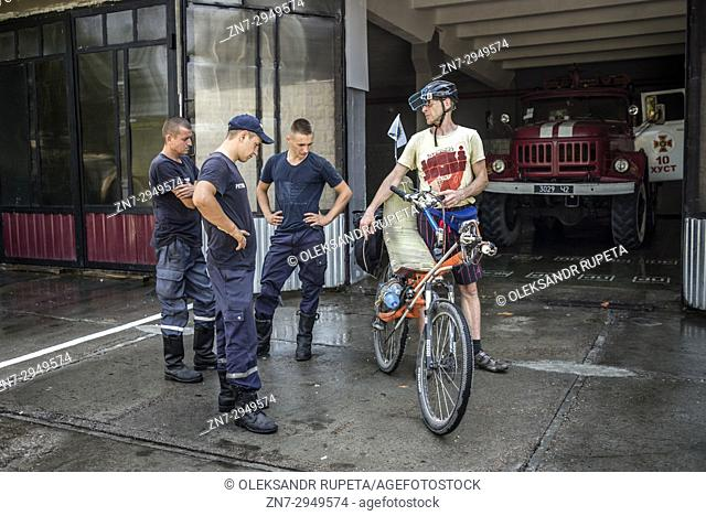 Participants of the annual camp of bicycle constructors during the bike rally in Carpathian mountains and Transcarpathia, Ukraine on 1st - 11th of August, 2017