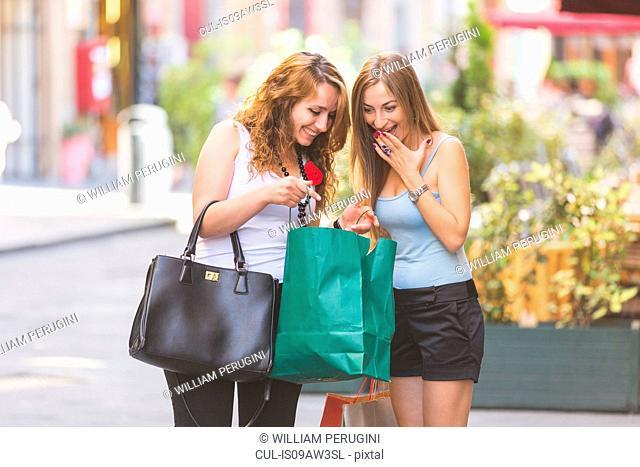 Girlfriends on shopping spree in town