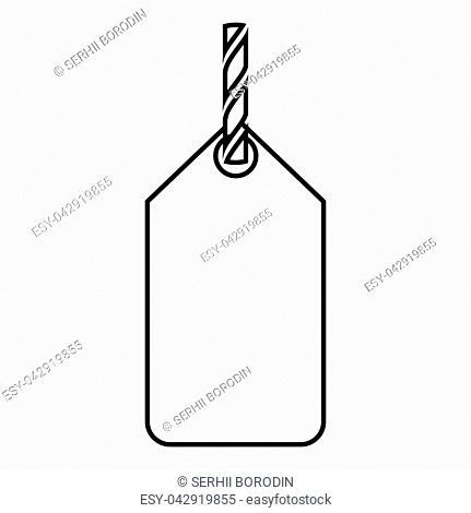 Label on the rope icon black color vector illustration flat style simple image