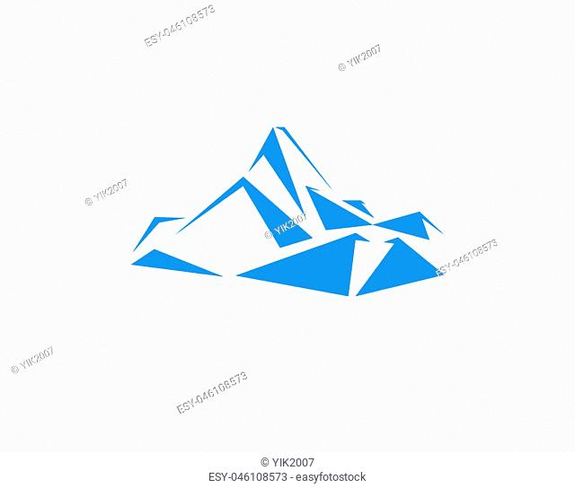 Mountains peak (Everest) logo. Triangles art. Can be used as sports badge, emblem of mineral water, tourism banner, travel icon, sign ..