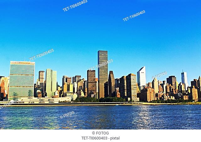 New York City skyline along water