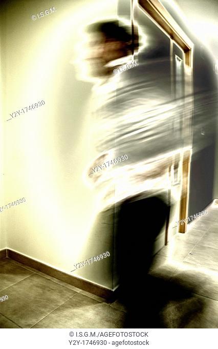 Man running at work