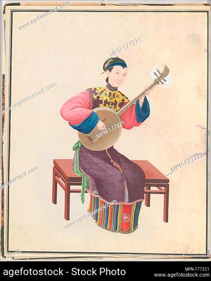 Watercolor of musician playing ruan(?). Date: late 18th century; Geography: China; Culture: Chinese; Medium: Watercolor on paper; Dimensions: Overall: 43