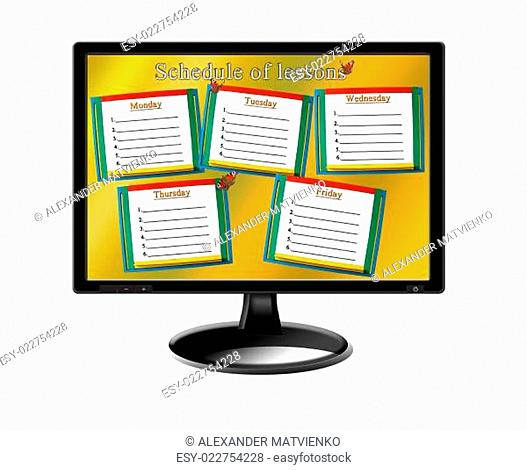 schedule of lessons for a week on the monitor