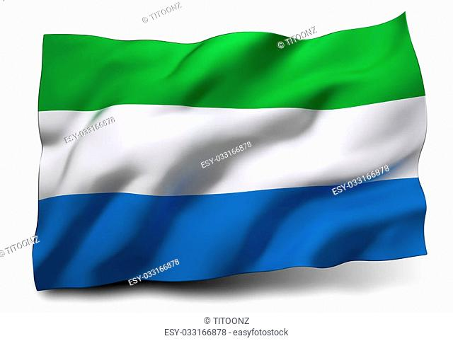 Waving flag of Sierra Leone isolated on white background
