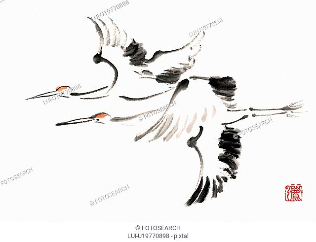 Flying red-crowned cranes, ink brush painting, side view, white background, cut out
