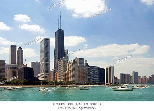 Chicago skyline on the Northshore as viewed from Lake Michigan