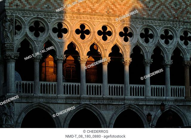 Low angle view of columns of a building, Doges palace, Venice, Veneto, Italy