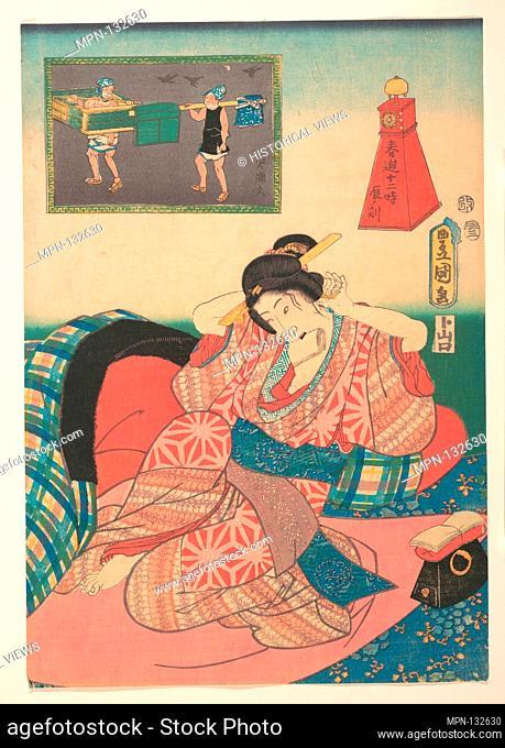 Twelve Hours of Spring Pleasures: Hour of the Dragon. Artist: Utagawa Kunisada (Japanese, 1786-1865); Period: Edo period (1615-1868); Date: 19th century;...