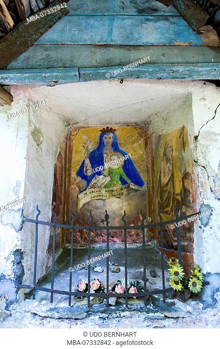Wayside shrine on the hiking trail near Intragna, in Centovalli, Ticino, Switzerland