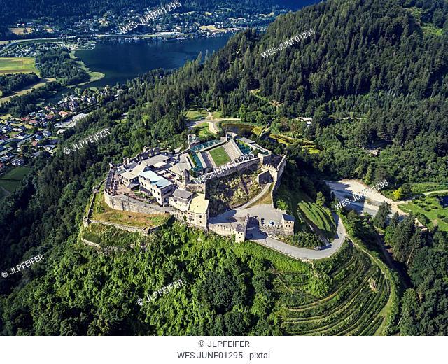 Austria, Carinthia, Ossiach Tauern, Villach, Landskorn Castle over St. Andrae, Lake Ossiach