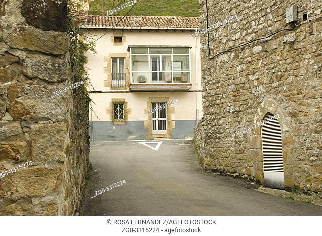 Street and traditional houses, Espinosa de los Monteros, Las Merindades, province of Burgos, Castilla y Leon, Spain