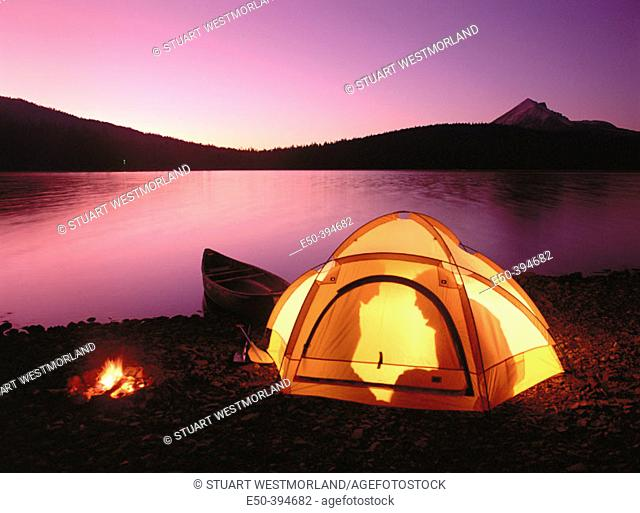 Outdoor camping, Twilight Lake of the Woods. Mount McLoughlin. Southern Oregon. USA