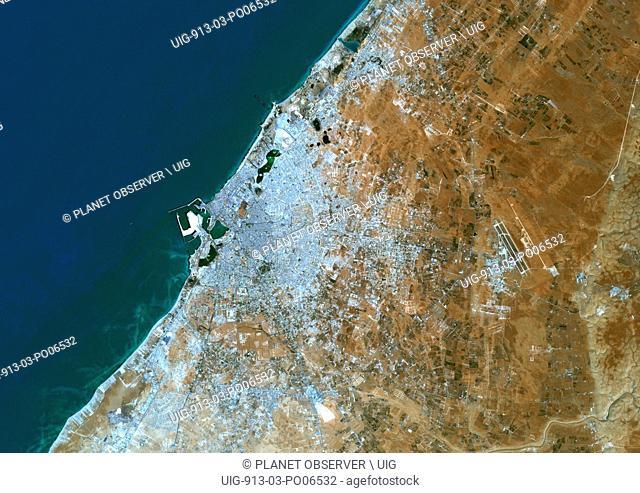Colour satellite image of Benghazi, Libya. Image taken on August 30, 2014 with Landsat 8 data