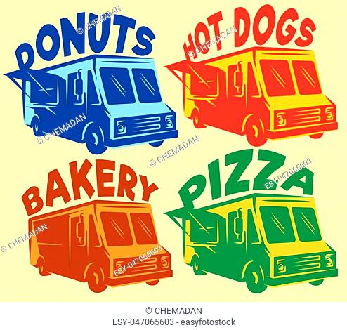 vector set of colored foodtrucks with different inscriptions