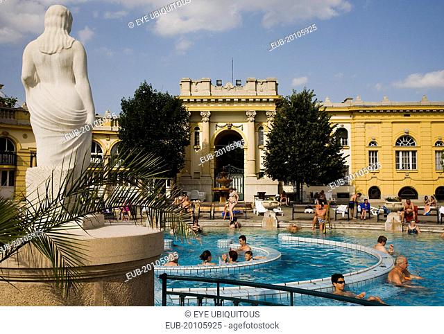 Pest Outdoor bathing in summer at Szechenyi thermal baths largest in Europe