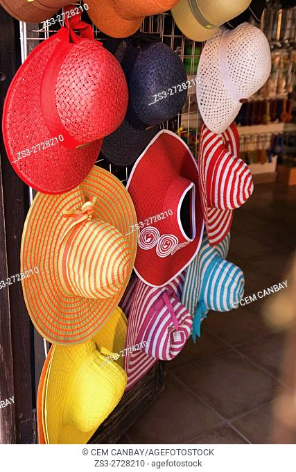 Colorful straw hats for sale in a shop, San Miguel de Allende, Guanajuato State, Mexico, Central America