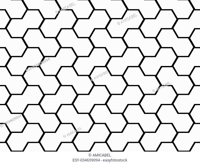 Design seamless monochrome hexagon geometric pattern. Abstract grid background. Vector art
