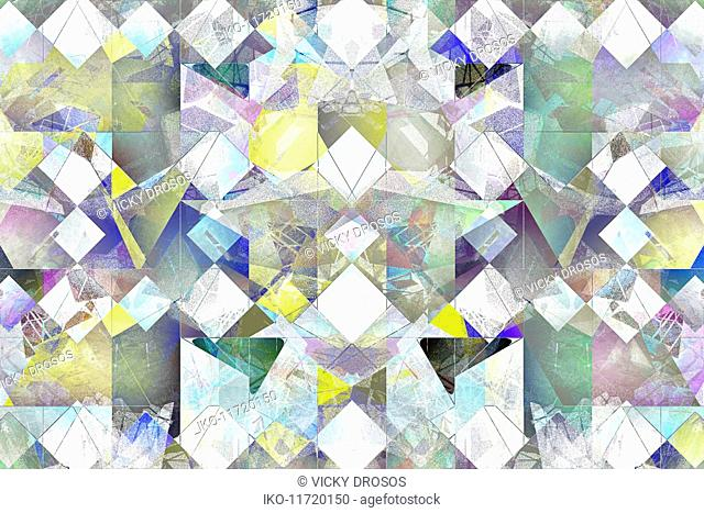 Multi-layered abstract tile pattern