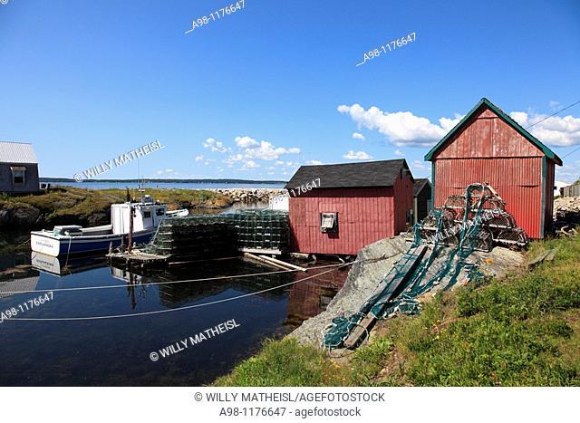 fish shacks and port of Blue Rocks near Lunenburg, Mahone Bay, Nova Scotia, Canada, North America