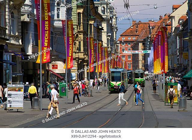 Austria, Styria, Graz, Herrengasse, Trams