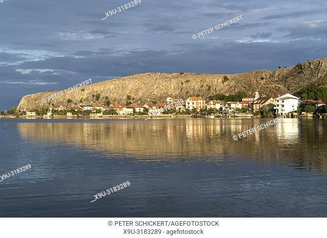 Lin village and peninsula on Lake Ohrid, Albania, Europe