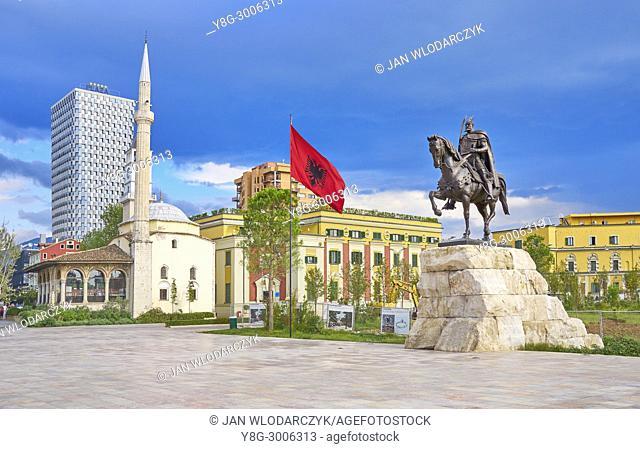 Statue of Skanderbeg, Ethem Bey Mosque and City Hall, Skanderbeg Square, Tirana, Albania
