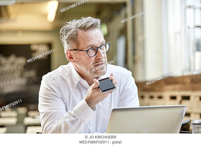 Mature businessman in cafe using cell phone