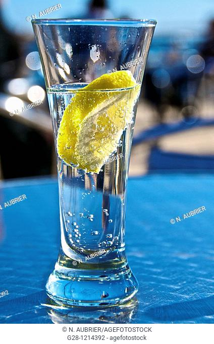 Alicante Spain glass of sparkling drink with lemon slice