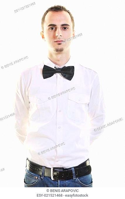 barman portrait isolated on white background