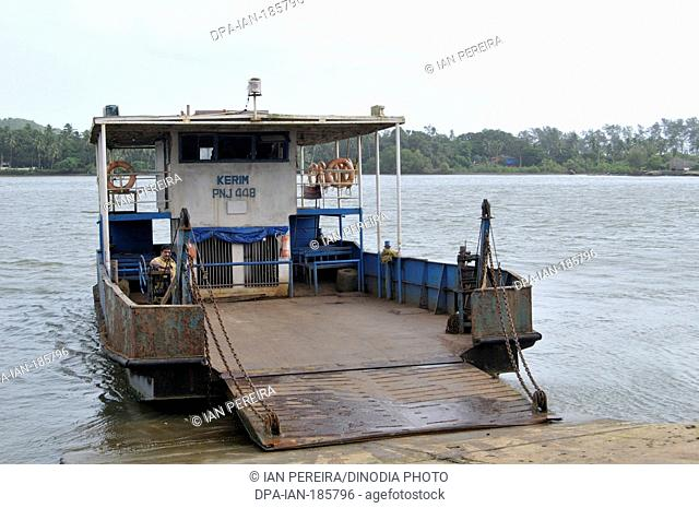 Ferry boat on Tiracol River Tiracol at Goa India