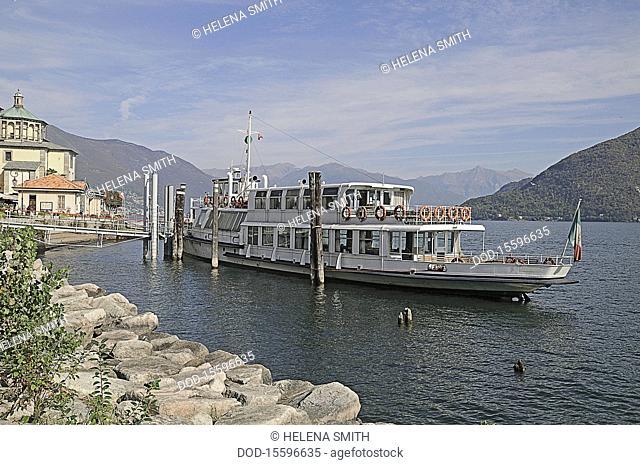 Italy, Lago Maggiore Lake Maggiore, tourboat near the shore