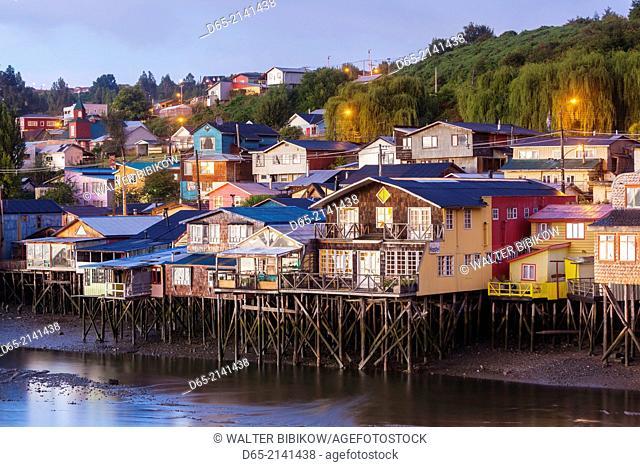 Chile, Chiloe Island, Castro, palafito stilt houses, elevated view