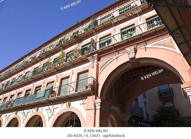Cordoba, Cordoba Province, Spain. Plaza de la Corredera. Detail of apartments