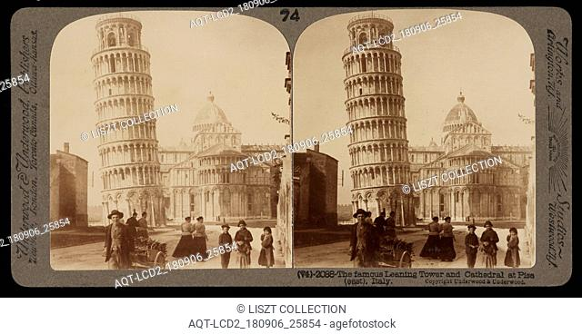 Famous leaning tower and Cathedral at Pisa, Stereographic views of Italy, Underwood and Underwood, Underwood, Bert, 1862-1943, stereograph: gelatin silver, ca