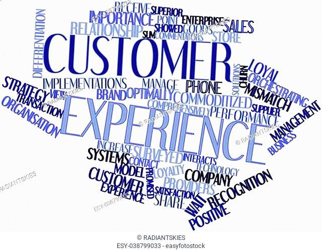 Abstract word cloud for Customer experience with related tags and terms