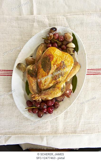 Laurel chicken with grapes