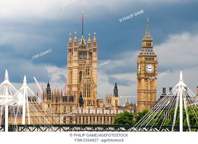 The Palace of Westminster, seen beyond Westminster Bridge, London