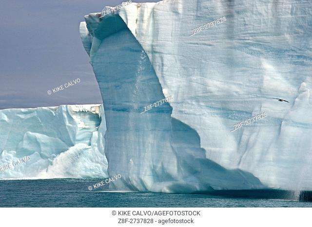Water Pours From face of Brasvellbreen Glacier on Nordaustlandet. Svalbard Archipelago, Arctic Norway
