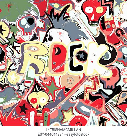 Vector cute punk rock abstract background. Hand drawn seamless pattern