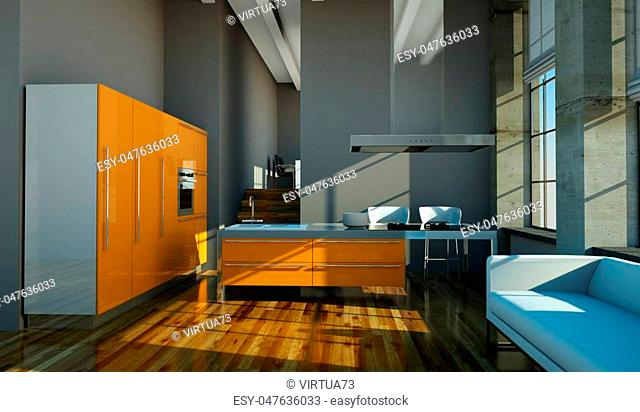 3d Illustration of modern orange kitchen in loft with a beautiful design